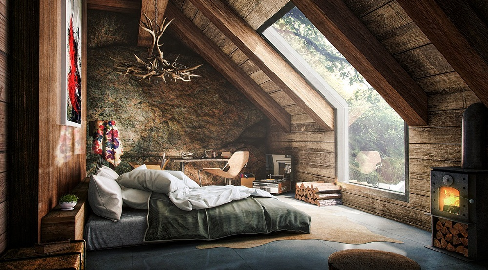 rustic-attic bedroom design