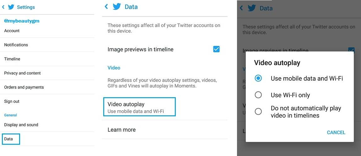How to stop autoplaying videos in Twitter