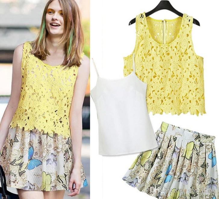 a ruffled blouse with a lace skirt print