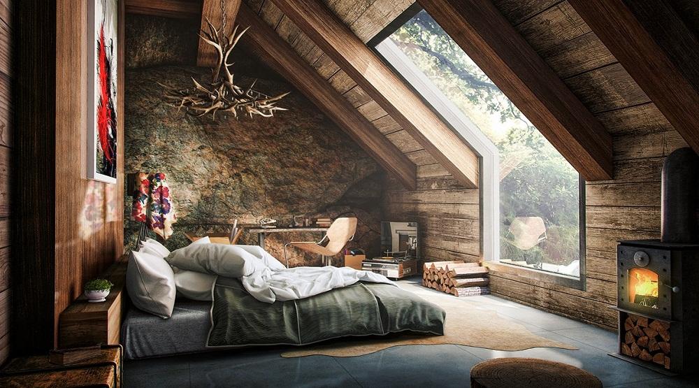 rustic-attic bedroom design