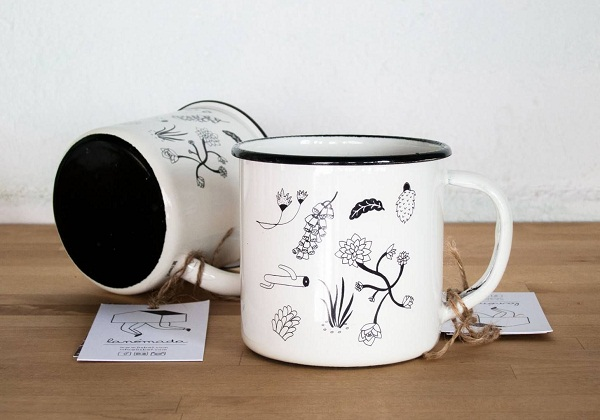 enamel camp travel mug illustrated lanomada