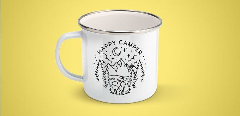 enamel happy camper mug black craft etsy