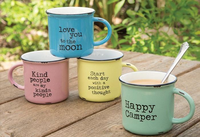 happy camper enamel mug etsy