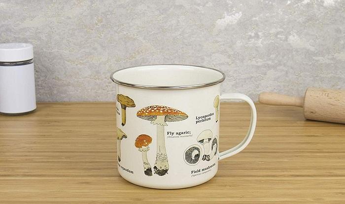 mushroom enamel mug for camping gift republic