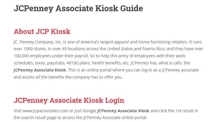 JCPenney Associate Kiosk Guide