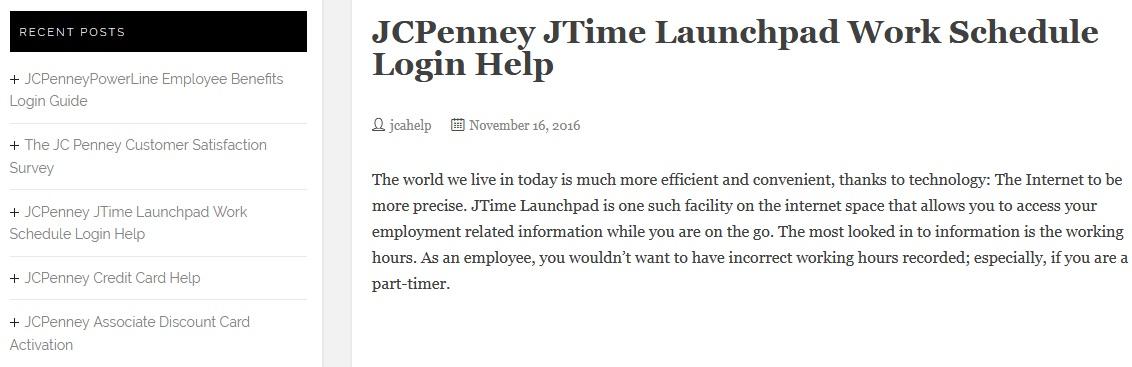JCPenney JTime Launchpad Work Schedule Login Help