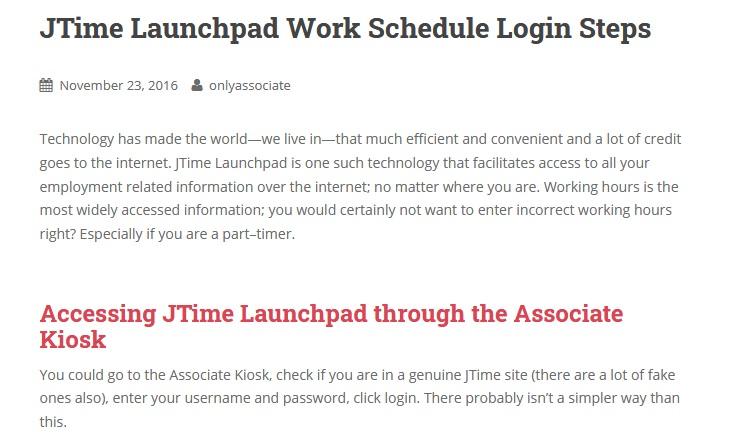 JTime Launchpad Work Schedule Login